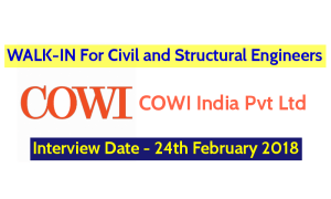 COWI India Pvt Ltd WALK-IN For Civil and Structural Engineers - Interview Date - 24th February 2018