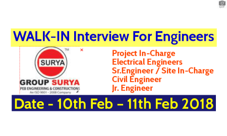GROUP SURYA PEB Engineering & Constructions WALK-IN For Engineers Date - 10th Feb – 11th Feb 2018