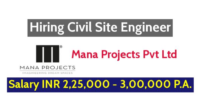 Mana Projects Pvt Ltd Hiring Civil Site Engineer - Salary INR 2,25,000 - 3,00,000 P.A.