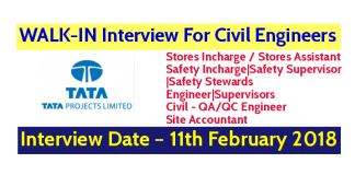 Tata Projects Limited WALK-IN Interview For Civil Engineers – Interview Date – 11th February 2018