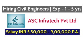 ASC Infratech Pvt Ltd Hiring Civil Engineers Exp - 1 - 5 yrs Salary INR 5,50,000 - 9,00,000 P.A.