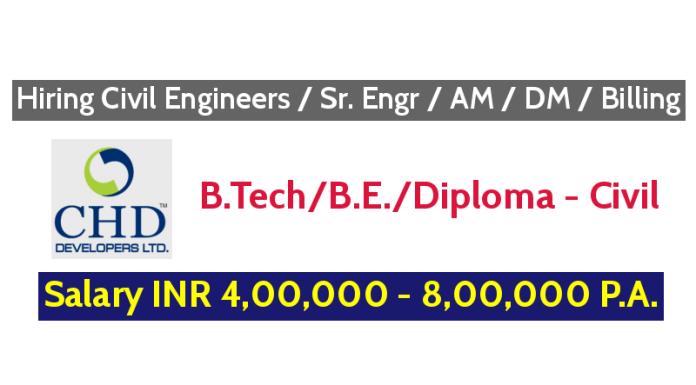 CHD Developers Ltd Hiring Civil Engineers Sr. Engr AM DM Billing - Salary INR 4,00,000 - 8,00,000 P.A.