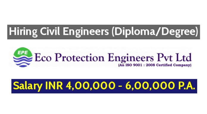 Eco Protection Engineers Pvt Ltd Hiring Civil Engineers (DiplomaDegree) - Salary INR 4,00,000 - 6,00,000 P.A.