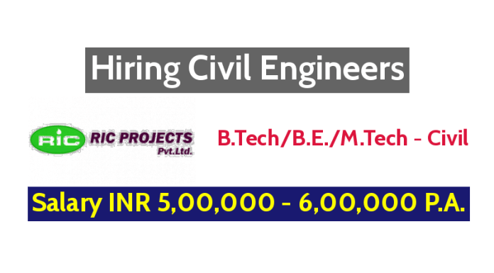 RIC Projects Pvt Ltd Hiring Civil Engineers - Salary INR 5,00,000 - 6,00,000 P.A.