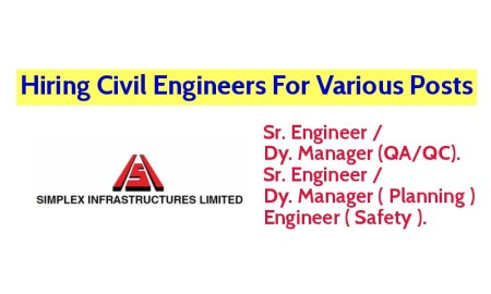 Simplex Infrastructures Limited Hiring Civil Engineers For Various Posts - Apply Now