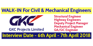 GKC Projects Limited WALK-IN For Civil And Mechanical Engineers - Interview Date - 6th April - 7th April 2018
