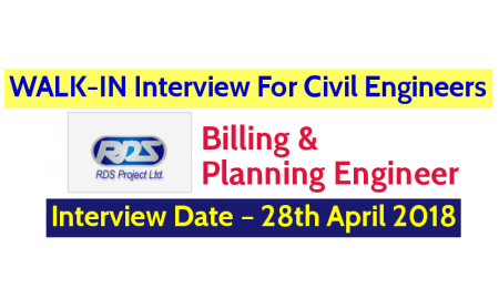 RDS Project Ltd WALK-IN Interview For Civil Engineers – Interview Date – 28th April 2018