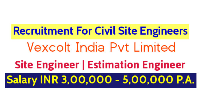 Vexcolt India Pvt Limited Recruitment For Civil Site Engineers Salary INR 3,00,000 - 5,00,000 P.A.
