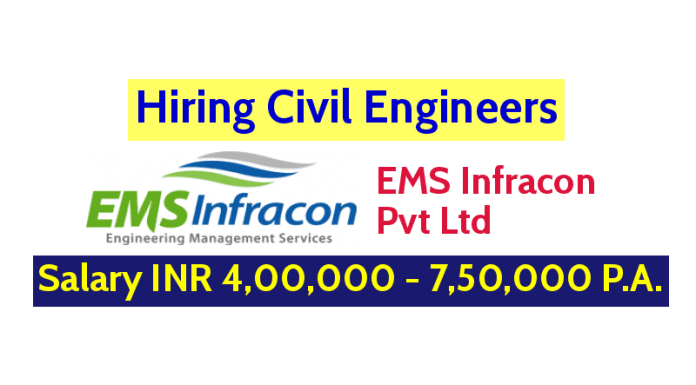 EMS Infracon Pvt Ltd Hiring Civil Engineers Salary INR 4,00,000 - 7,50,000 P.A.
