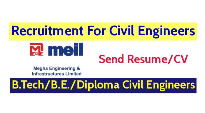 Megha Engineering and Infrastructures Ltd Hiring Civil Engineers B.TechB.E.Diploma Engineers Send ResumeMegha Engineering and Infrastructures Ltd Hiring Civil Engineers B.TechB.E.Diploma Engineers Send Resume