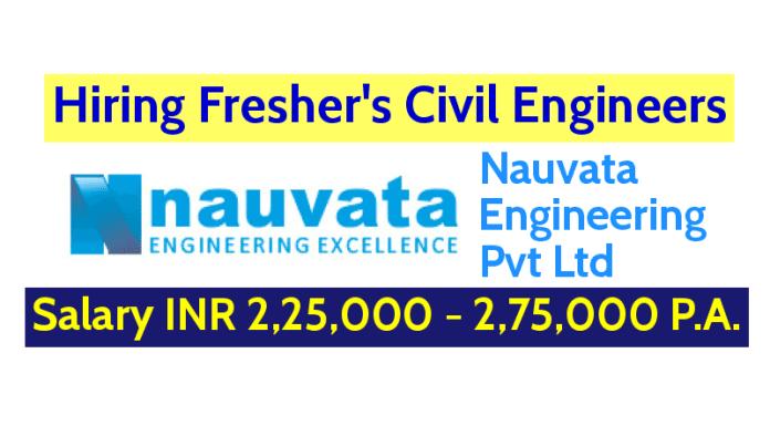 Nauvata Engineering Pvt Ltd Hiring Fresher's Civil Engineers Salary INR 2,25,000 - 2,75,000 P.A.