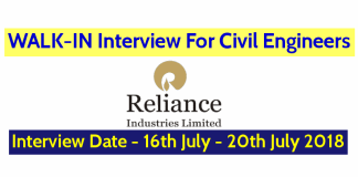 Reliance Industries Ltd WALK-IN For Civil Engineers Interview Date - 16th July - 20th July 2018