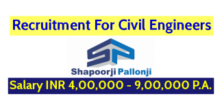 Shapoorji Pallonji Groups Recruitment For Civil Engineers Salary INR 4,00,000 - 9,00,000 P.A.