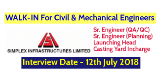 Simplex Infrastructures Limited WALK-IN For Civil & Mechanical Engineers Interview Date - 12th July 2018