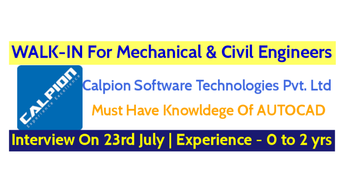 WALK-IN For Mechanical & Civil Engineers On 23rd July Experience - 0 to 2 yrs Bengaluru