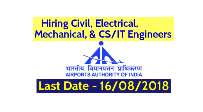 Airports Authority Of India Hiring Civil, Electrical, Mechanical, & CSIT Engineers Last Date - 16082018