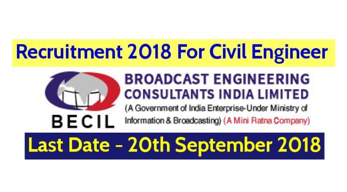 BECIL Recruitment 2018 Civil Engineer B.TechB.E.Diploma Last Date - 20092018