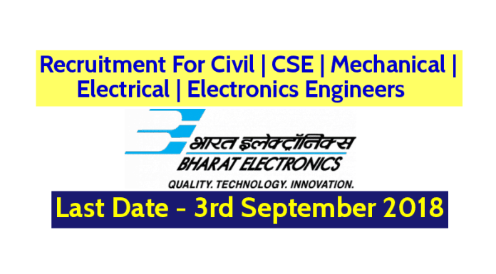 BEL Recruitment For Civil CSE Mechanical Electrical Electronics Engineers Last Date - 03092018