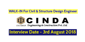 CINDA Engineering & Construction Pvt Ltd WALK-IN For Civil & Structure Design Engineer Interview Date - 3rd August 2018