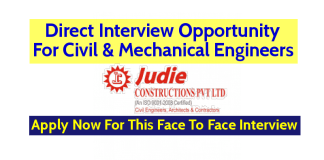 Judie Constructions Pvt Ltd Direct Interview Opportunity For Civil & Mechanical Engineers