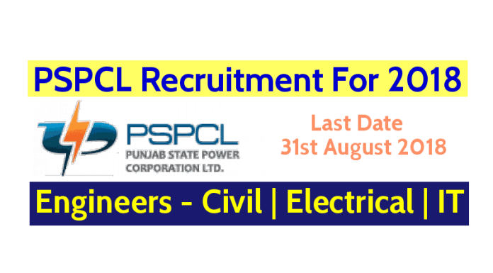 PSPCL Recruitment For 2018 Engineers - Civil Electrical IT Last Date - 31st August 2018