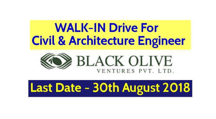 WALK-IN Drive For Civil & Architecture Engineer Black Olive Ventures Pvt Ltd