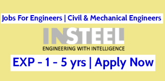 Jobs For Engineers Civil & Mechanical Engineers InSteel Engineers Pvt Ltd 1 - 5 yrs Mumbai