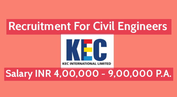 KEC International Ltd Recruitment For Civil Engineers Salary INR 4,00,000 - 9,00,000 P.A.