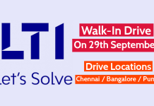 Larsen & Toubro Infotech Ltd Walk-In Drive On 29th September Drive Locations - Chennai Bangalore Pune