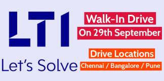 Larsen & Toubro Infotech Ltd Walk-In Drive On 29th September Drive Locations - Chennai Bangalore Pune