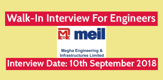 Megha Engineering and Infrastructures Ltd Walk-In For Engineers 10th September 2018