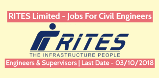 RITES Limited - Jobs For Civil Engineers Engineers & Supervisors Last Date - 03102018