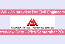 Simplex Infrastructures Limited Walk-In for Civil Engineers Interview Date - 29th September 2018