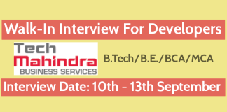 TechMBS Recruitment 2018 Walk-In For Developers B.TechB.E.BCAMCA 10th - 13th September