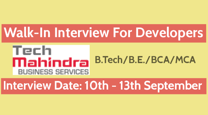 TechMBS Recruitment 2018 Walk-In For Developers B.TechB.E.BCAMCA 10th - 13th September