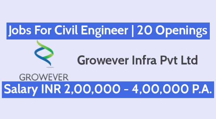 Jobs For Civil Engineer In Growever Infra Pvt Ltd 20 Openings Salary INR 2,00,000 - 4,00,000 P.A.