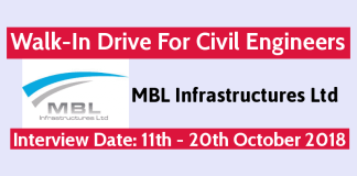 MBL Infrastructures Ltd Walk-In Drive For Civil Engineers 11th October - 20th October 2018