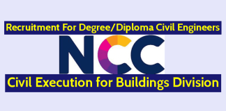 NCC Limited Recruitment For B.TechB.E.Diploma Civil Engineers Civil Execution for Buildings Division