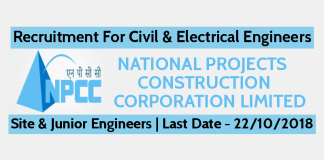 NPCC Recruitment For Civil & Electrical Engineers - Site Engineer & Junior Engineers - Last Date - 22/10/2018