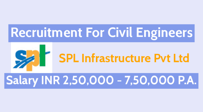 SPL Infrastructure Pvt Ltd Recruitment For Civil Engineers Salary INR 2,50,000 - 7,50,000 P.A.