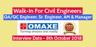 Walk-In For Civil Engineers 8th Oct QAQC Engineer, Sr. Engineer, AM & Manager Omaxe Limited