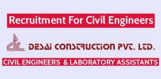 Desai Construction Pvt Ltd Is Hiring Civil Engineers Apply Now