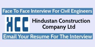 HCC Recruitment - Face To Face Interview For Civil Engineers Email Your Resume For The Interview