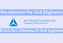 JMC Projects Recruitment For Civil Engineers Highway Projects B.TechB.E.DiplomaM.Tech