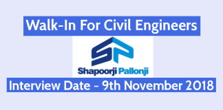 Shapoorji Pallonji Walk-In For Civil Engineers Interview Date - 9th November 2018