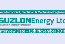 Suzlon Energy Ltd Walk-In For Civil, Electrical, & Mechanical Engineers Interview Date - 15th November 2018