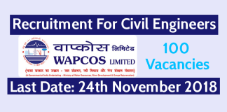 WAPCOS Recruitment For Civil Engineers - Last Date - 24-11-2018