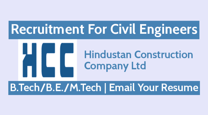 HCC Ltd Jobs - Recruitment For Civil Engineers B.TechB.E.M.Tech Email Your Resume