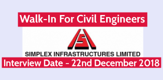 Simplex Infrastructures Ltd Walk-In For Civil Engineers Interview Date - 22nd December 2018
