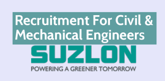 Suzlon Group Recruitment For Civil & Mechanical Engineers Apply Now